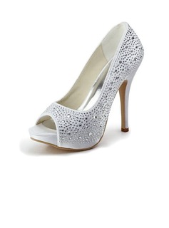 Satin Stiletto Heel Peep Toe Platform Pumps Wedding Shoes With Rhinestone (047011800)