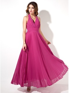 A-Line/Princess Halter Ankle-Length Chiffon Evening Dress With Ruffle (017022526)