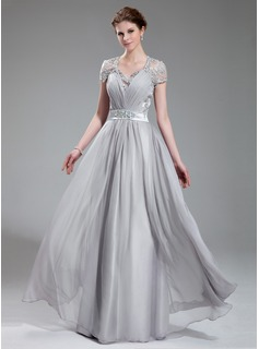 A-Line/Princess V-neck Floor-Length Chiffon Charmeuse Evening Dress With Ruffle Lace Beading (017019722)