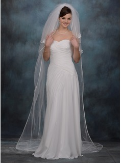 Three-tier Chapel Bridal Veils With Ribbon Edge