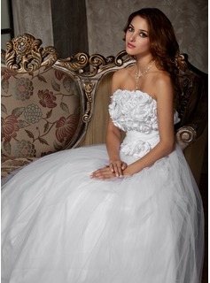 A-Line/Princess Strapless Floor-Length Satin Tulle Wedding Dress With Ruffle Flower(s) (002011448)