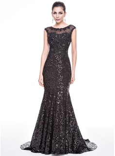 Trumpet/Mermaid Scoop Neck Court Train Tulle Sequined Evening Dress With Beading Appliques Lace