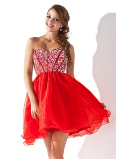 Empire Sweetheart Short/Mini Organza Satin Homecoming Dress With Beading Sequins (022008141)