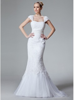 Mermaid Sweetheart Sweep Train Satin Tulle Wedding Dress With Lace Beadwork