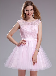 A-Line/Princess Scoop Neck Short/Mini Tulle Charmeuse Lace Prom Dress With Ruffle Beading Sequins Bow(s)