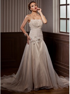 A-Line/Princess Chapel Train Satin Organza Wedding Dress With Ruffle Lace Beading Flower(s)