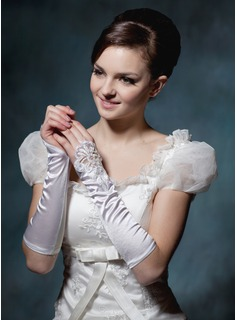 Elastic Satin Beadings Lace Gloves (014020510)
