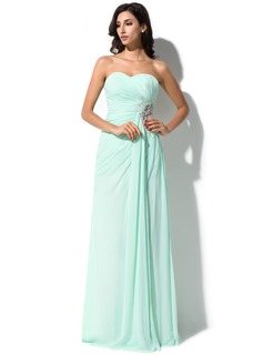 Sheath/Column Sweetheart Floor-Length Chiffon Tulle Prom Dress With Ruffle Beading Appliques Lace Sequins Split Front