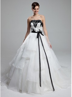 Ball-Gown Strapless Cathedral Train Organza Satin Wedding Dress With Lace Sash Beadwork Sequins
