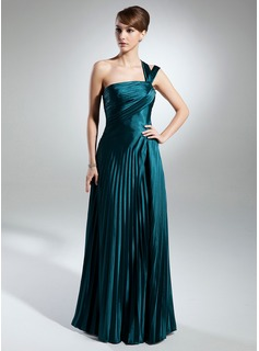 A-Line/Princess One-Shoulder Floor-Length Charmeuse Mother of the Bride Dress With Ruffle (008015379)
