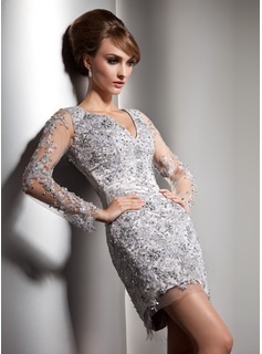 Sheath V-neck Short/Mini Tulle Charmeuse Cocktail Dress With Lace Beading (016020581)