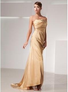 Sheath One-Shoulder Sweep Train Charmeuse Evening Dress With Ruffle (017014438)