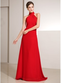 Sheath High Neck Sweep Train Chiffon Holiday Dress With Ruffle (020014242)