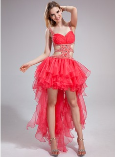 A-Line/Princess Sweetheart Asymmetrical Organza Charmeuse Prom Dress With Beading Cascading Ruffles