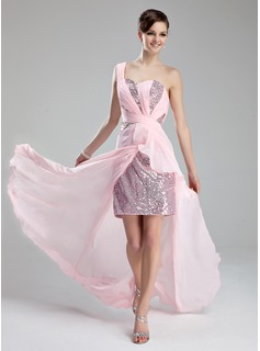 A-Line/Princess One-Shoulder Court Train Chiffon Sequined Prom Dress With Ruffle Beading Split Front