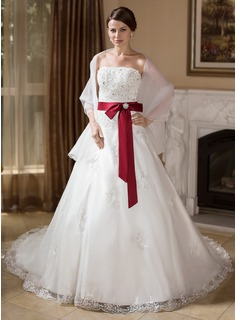 Ball-Gown Strapless Chapel Train Organza Satin Wedding Dress With Lace Sash Beading Crystal Brooch Bow(s)
