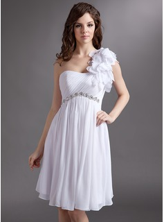 Empire One-Shoulder Knee-Length Chiffon Tulle Homecoming Dress With Ruffle Beading Flower