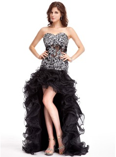 A-Line/Princess Sweetheart Asymmetrical Organza Tulle Prom Dress With Beading Appliques Sequins Cascading Ruffles