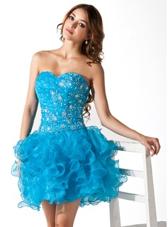A-Line/Princess Sweetheart Short/Mini Organza Homecoming Dress With Ruffle Lace Beading Sequins (022020847)
