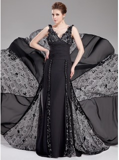 A-Line/Princess V-neck Court Train Chiffon Lace Evening Dress With Ruffle Beading Flower(s) (017019765)