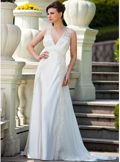 A-Line/Princess V-neck Court Train Chiffon Charmeuse Wedding Dress With Ruffle Lace Beadwork (008024572)