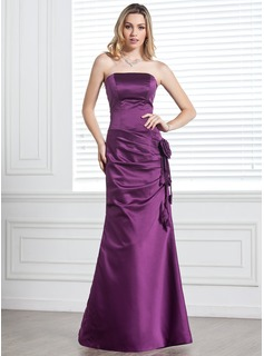 Trumpet/Mermaid Strapless Floor-Length Satin Bridesmaid Dress With Ruffle Flower(s)