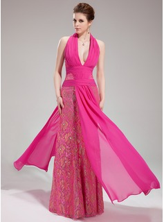 Sheath Halter Floor-Length Chiffon Lace Evening Dress With Ruffle Beading (017019755)