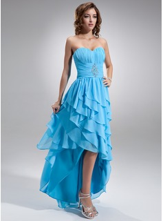 A-Line/Princess Sweetheart Asymmetrical Chiffon Prom Dress With Ruffle Beading (018021020)