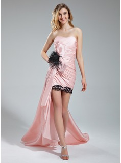 Sheath/Column Sweetheart Asymmetrical Taffeta Prom Dress With Lace Feather Cascading Ruffles