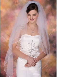 Two-tier Fingertip Bridal Veils With Pencil Edge