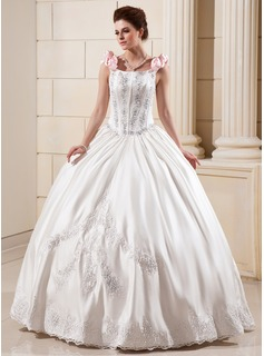 Ball-Gown Floor-Length Satin Wedding Dress With Lace Beadwork Flower(s) Sequins