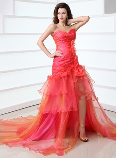 A-Line/Princess Sweetheart Chapel Train Organza Prom Dress With Ruffle Beading (018017330)