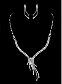 Jóias (High Quality Czech Rhinestones With Alloy Plated Wedding Necklace And Earrings Jewelry Set 011005471)