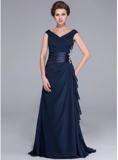 A-Line/Princess Off-the-Shoulder Sweep Train Chiffon Charmeuse Mother of the Bride Dress With Ruffle Beading