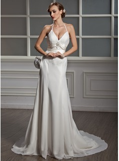 A-Line/Princess V-neck Chapel Train Chiffon Charmeuse Wedding Dress With Lace Beadwork (002001705)