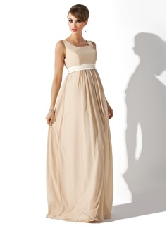 Empire Square Neckline Floor-Length Chiffon Charmeuse Maternity Bridesmaid Dress With Sash (045004409)