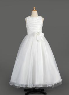 A-Line/Princess Scoop Neck Floor-Length Taffeta Organza Flower Girl Dress With Ruffle Flower(s) Bow(s)