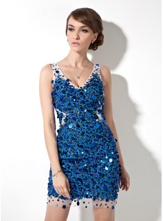 Sheath V-neck Short/Mini Tulle Lace Cocktail Dress With Beading Sequins (016008385)
