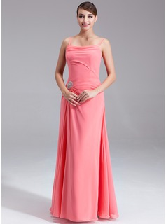 A-Line/Princess Cowl Neck Floor-Length Chiffon Bridesmaid Dress With Ruffle Beading Sequins