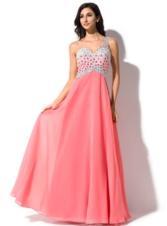 A-Line/Princess One-Shoulder Floor-Length Chiffon Prom Dress With Beading Sequins