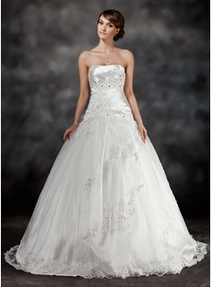 Ball-Gown Sweetheart Sweep Train Tulle Charmeuse Wedding Dress With Ruffle Lace Beadwork (002017430)