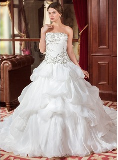 Ball-Gown Strapless Cathedral Train Organza Wedding Dress With Embroidery Ruffle Beadwork Sequins (002012744)
