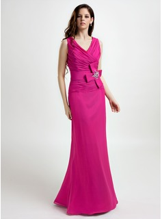 Sheath V-neck Floor-Length Chiffon Mother of the Bride Dress With Beading (008015809)