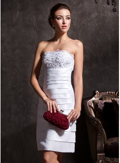 Sheath/Column Strapless Knee-Length Taffeta Wedding Dress With Lace Beadwork (002011535)