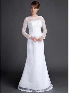 A-Line/Princess Scoop Neck Floor-Length Organza Satin Wedding Dress With Lace (002015810)