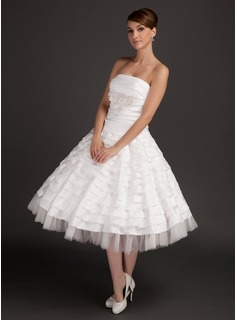 A-Line/Princess Strapless Tea-Length Taffeta Tulle Wedding Dress With Ruffle Beading Appliques Lace