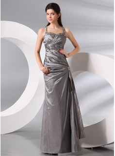 Sheath Halter Floor-Length Taffeta Evening Dress With Ruffle Beading (017014001)