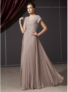 A-Line/Princess V-neck Floor-Length Chiffon Charmeuse Mother of the Bride Dress With Ruffle Beading (008014237)
