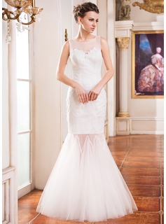 Trumpet/Mermaid Scoop Neck Floor-Length Tulle Lace Wedding Dress With Beading Sequins