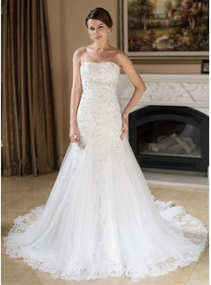 Trumpet/Mermaid Sweetheart Chapel Train Satin Tulle Wedding Dress With Lace Beading Sequins